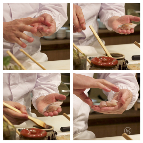 sushi in the making. no gloves please