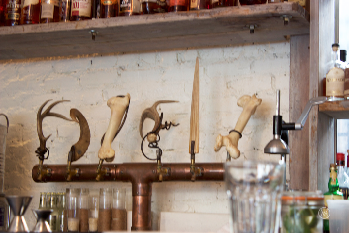 different horns double as tap handles at the bar