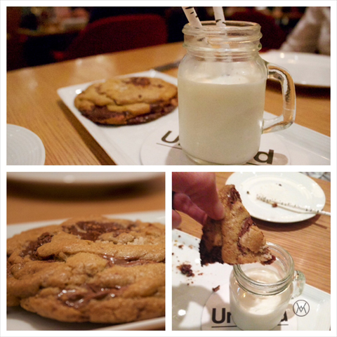 Triple chocolate chunk cookie with milk