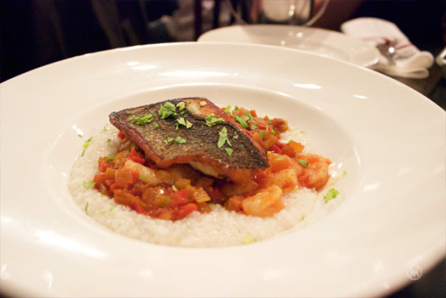 PAN ROASTED BLACK SEA BASS with creamy Rice Grits & Shrimp Creole
