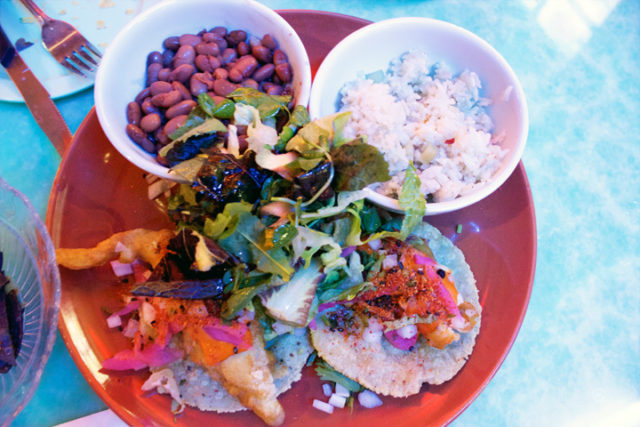 Beer Battered Fish Tacos- tomatillo fried rice & beans