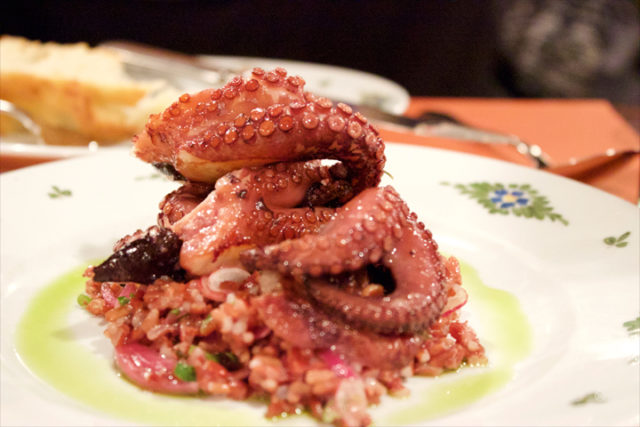 Polipo- seared baby octopus, wild red rice salad herb oil