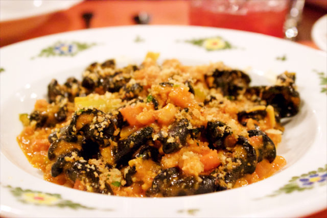 TORCIA- squid ink pasta, seppia & shrimp ragù