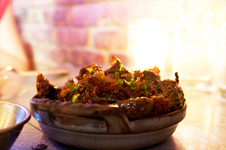 Brussels sprouts $11- bacon miso, toasted garlic, sea salt